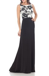 Carmen Marc Valvo Infusion Women's Embroidered Gown White Black
