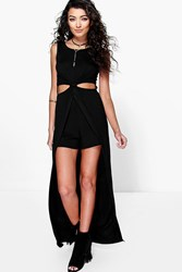 Boohoo Twist Front Maxi Overlay Playsuit Black