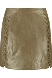Rebecca Minkoff Vixen Whipstitched Leather Mini Skirt Green