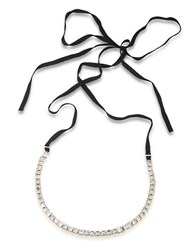 Abs By Allen Schwartz Crystal Ribbon Necklace Silver