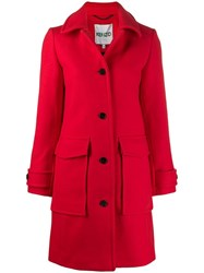 Kenzo Single Breasted Coat Red