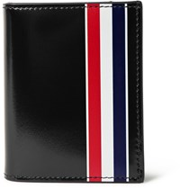 Thom Browne Striped Patent Leather Bifold Cardholder Black