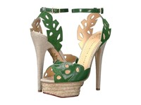 Charlotte Olympia Evangelina Jungle Green Natural Suede Patent Espadrille High Heels