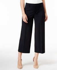 Charter Club Solid Polished Wide Leg Crop Only At Macy's Deepest Navy