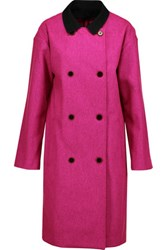 Opening Ceremony Trinity Cotton Trimmed Wool Blend Coat Magenta