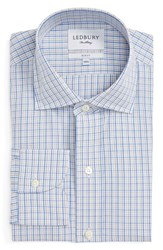 Ledbury Men's Big And Tall Slim Fit Check Dress Shirt Tan Light Blue