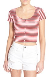 Junior Women's Bp. Stripe Scoop Neck Crop Top