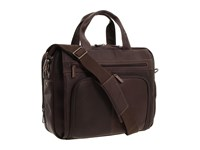 Kenneth Cole Reaction Out Of The Bag 5 To 6 1 2 Double Gusset Expandable Top Zip Portfolio Computer Case Dark Brown Full Grain Leather Computer...
