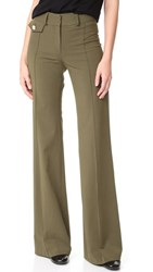Veronica Beard Groove High Waisted Pants Army Green