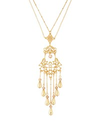 Fragments For Neiman Marcus Long Filigree Tassel Pendant Necklace Gold