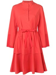 Josie Natori Mandarin Dress Red