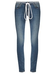 Off White Pinstriped Skinny Jeans Denim