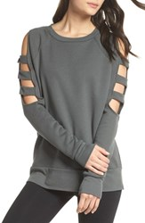 Zella Cutout Sleeve Sweatshirt Grey Urban