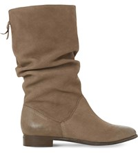 Dune Rosalind Ruched Leather Calf Boots Taupe Leather