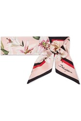 Dolce And Gabbana Printed Silk Twill Scarf Pink