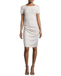 Halston Short Sleeve Ruched Sheath Dress Windchime