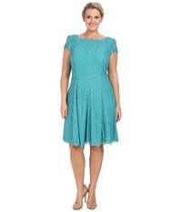 Adrianna Papell Plus Size Lace Cap Sleeve Fit And Flare Jade Women's Clothing Green