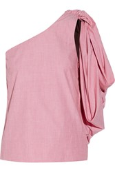 Rosie Assoulin Hustle And Bustle One Shoulder Cotton Chambray Top Pink