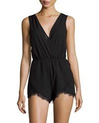 Lovers Friends Can't Let Go Lace Trim Sleeveless Romper Black