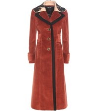 Miu Miu Corduroy And Virgin Wool Coat Brown