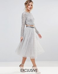 Maya Tulle Midi Skirt With Delicate Sequin Grey