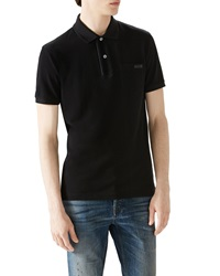 Gucci Black Short Sleeve Pique Logo Polo W Leather Trim