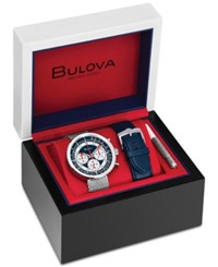 Bulova Men's Chronograph Special Edition Stainless Steel Mesh Bracelet Watch With Interchangeable Blue Leather Strap 50Mm No Color