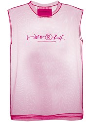 Viktor And Rolf Logo Signature Tank Top Pink
