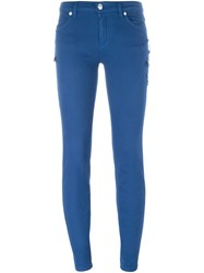 Versus Safety Pin Detail Skinny Jeans Blue