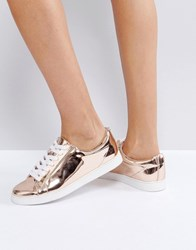 Faith Rose Gold Lace Up Trainers Rose Gold