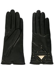 Emporio Armani Logo Plaque Gloves Black