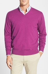 Men's Peter Millar Wool Blend V Neck Sweater Zinfandel