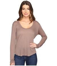 Project Social T Wild Night Flax Cold Shoulder Shitake Women's Clothing Brown