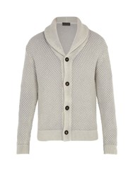 Iris Von Arnim Galileo Waffle Knit Cashmere Cardigan Light Grey