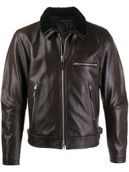 Tom Ford Detachable Shearling Collar Jacket Brown