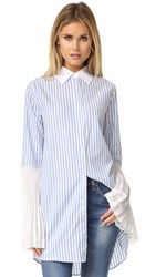 Clu Striped Button Down Tunic Blue Stripe