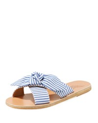 Ancient Greek Sandals Gingham Fabric Knotted Sandal Blue Pattern