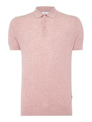 Peter Werth Men's Reader Textured Knitted Cotton Polo Pink Marl
