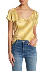 14Th And Union Striped V Neck Tee Petite Yellow