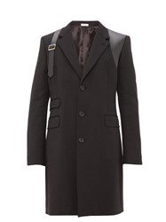 Alexander Mcqueen Leather Harness Single Breasted Wool Overcoat Black