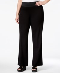 Inc International Concepts Plus Size Pull On Wide Leg Pants Only At Macy Deep Black