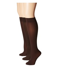Hue Cable Rib Opaque Knee High 3 Pack Espresso Women's Crew Cut Socks Shoes Brown