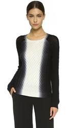 Vince Vertical Dip Dye Cable Sweater Off White Black