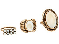 Steve Madden Round And Oval White Stone Three Piece Ring Set Gold Ring
