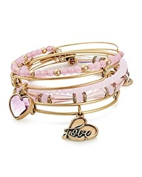 Alex And Ani Alive With Love Charm Beaded Bangles Set Of 5 Pink Gold