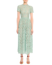 Valentino Short Sleeve Tea Length Lace Gown