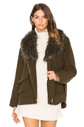Smythe Detachable Faux Fur Collar Flak Jacket Olive