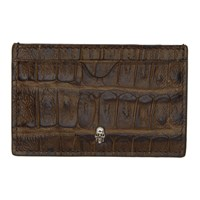 Alexander Mcqueen Brown Croc Skull Card Holder