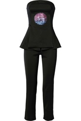 Opening Ceremony Sequin Embellished Faille Peplum Jumpsuit Black