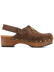 Gucci Buckled Mules Brown